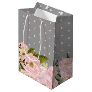 Blush Pink Grey  Floral Wedding Favor Bags
