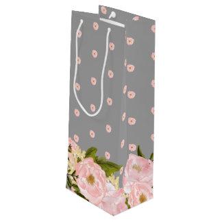 Blush Pink Grey  Floral Wedding Favor Wine Bags