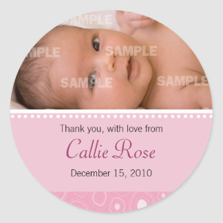 Blush Pink Gumdrop Baby Message Classic Round Sticker