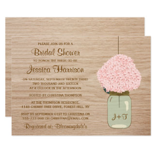 Blush Pink Hydrangea & Mason Jar Bridal Shower Card