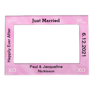 Blush Pink Just Married Wedding Frames