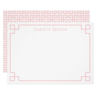 Blush Pink Key Border Personalised Stationery Card