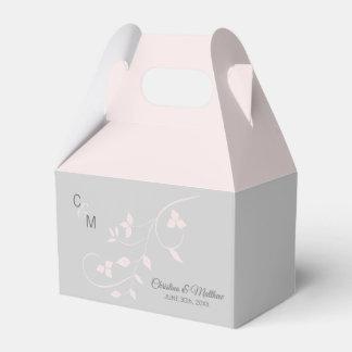 Blush Pink & Light Grey Vine Initials Thank You Favour Box