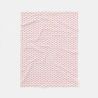 Blush Pink Lipstick Kisses Fleece Blanket