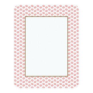 "Blush Pink Lipstick Kisses 4.25"" X 5.5"" Invitation Card"