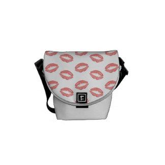 Blush Pink Lipstick Kisses Courier Bag