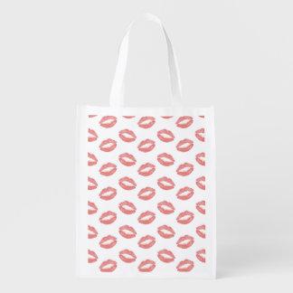 Blush Pink Lipstick Kisses Market Totes
