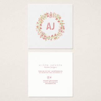 Blush pink meadow floral square fashion designer square business card