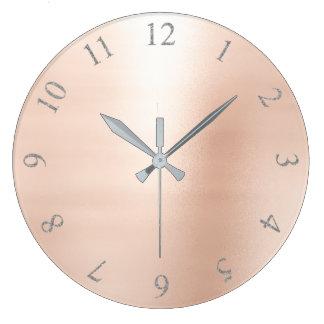 Blush Pink Metallic Silver Gray US UK Numbers Large Clock