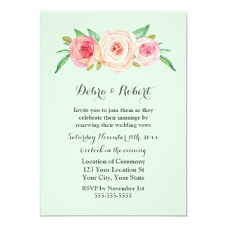 Blush Pink Mint Vow Renewal Invitation