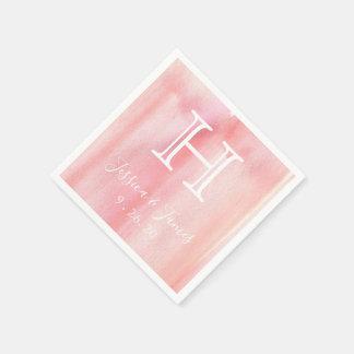 Blush Pink Monogram Disposable Serviettes