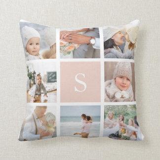 Blush Pink Monogram Photo Collage Cushion