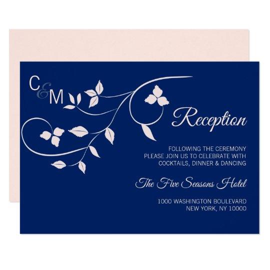 Blush Pink Navy Blue Wedding RECEPTION Insert Card