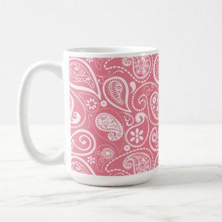 Blush Pink Paisley; Floral Basic White Mug