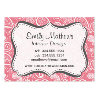 Blush Pink Paisley; Floral Large Business Cards (Pack Of 100)