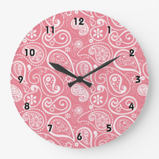Blush Pink Paisley Floral Clocks