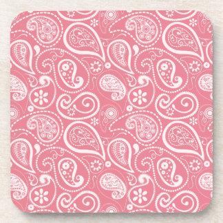 Blush Pink Paisley; Floral Beverage Coaster