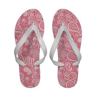Blush Pink Paisley; Floral Flip-Flops