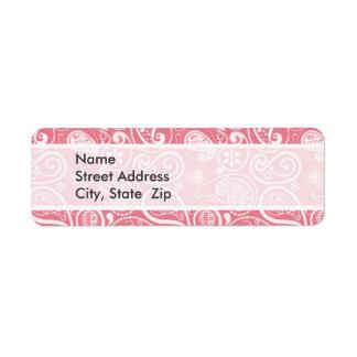 Blush Pink Paisley; Floral Return Address Label