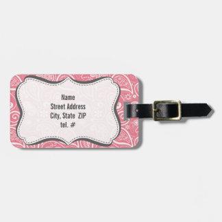 Blush Pink Paisley Floral Travel Bag Tags