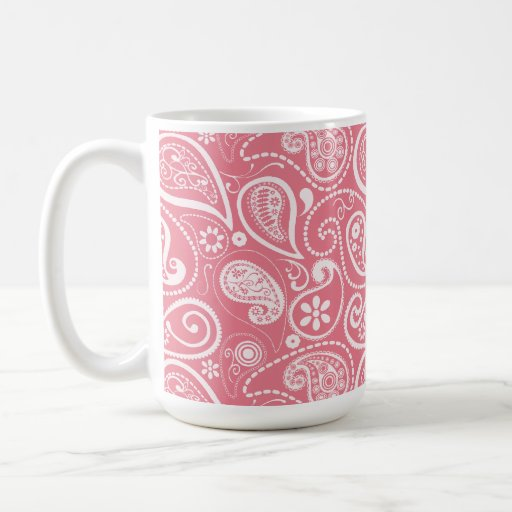 Blush Pink Paisley; Floral Coffee Mugs