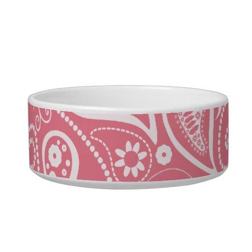Blush Pink Paisley; Floral Pet Water Bowls
