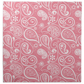 Blush Pink Paisley; Floral Printed Napkin