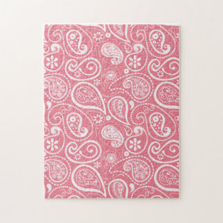 Blush Pink Paisley Floral Jigsaw Puzzle