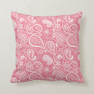 Blush Pink Paisley; Floral Throw Pillow