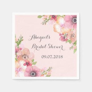 Blush Pink Pastel Floral Bridal Shower Napkins Paper Napkin