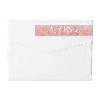 Blush Pink & Peach Watercolor Wash Simple Wedding Wrap Around Label