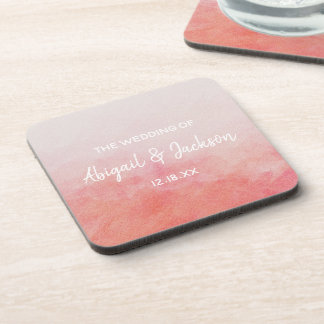 Blush Pink Peach Watercolor Wash Wedding Monogram Coaster