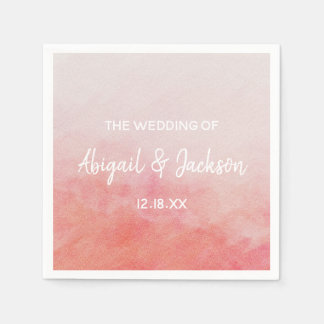 Blush Pink Peach Watercolor Wash Wedding Monogram Disposable Serviette