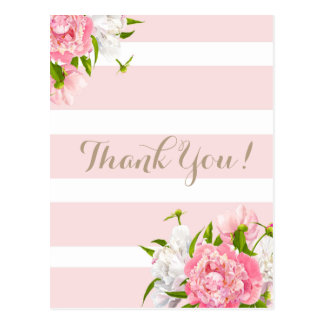 Blush Pink Peonie Floral Thank you postcards