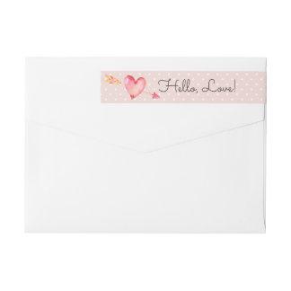 Blush Pink Polka Dots & Heart Cute Return Address Wrap Around Label