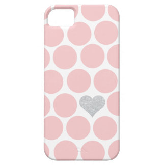 Blush Pink Polka Dots Silver Glitter Heart iPhone 5 Cases