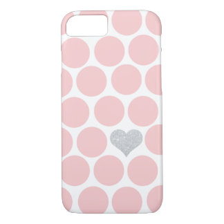 Blush Pink Polka Dots Silver Glitter Heart iPhone 7 Case
