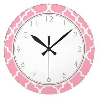 Blush Pink Quatrefoil Pattern Clock