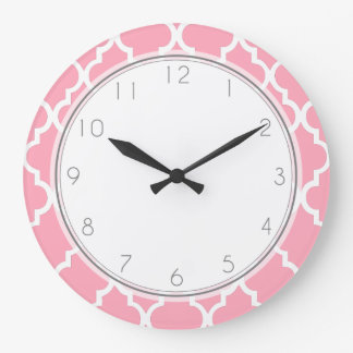 Blush Pink Quatrefoil Pattern Large Clock