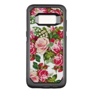 Blush pink red bohemian vintage roses floral OtterBox commuter samsung galaxy s8 case