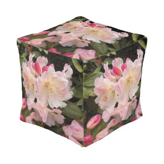 Blush Pink Rhododendrons Floral Pouf