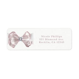 Blush Pink Ribbon & Diamonds Elegant Invitation Return Address Label