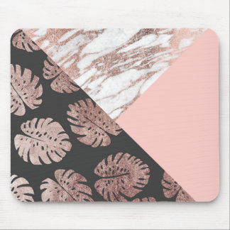 Blush Pink Rose Gold Marble Swiss Cheese Leaves Mouse Pad