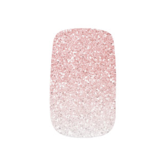 Blush Pink Rose Gold Ombre Glitter Minx Nail Art