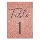 Blush Pink - Rose Gold Sparkle Table Number