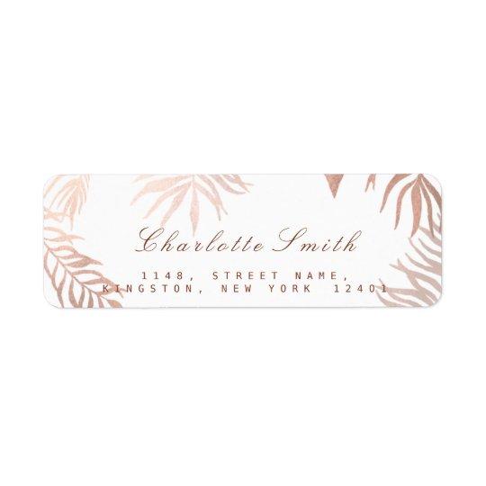 Blush Pink Rose Gold White Foils Botanical RSVP Return Address Label