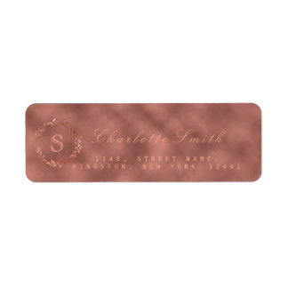 Blush Pink Rose Metallic Wreath VIP Monogram RSVP Return Address Label