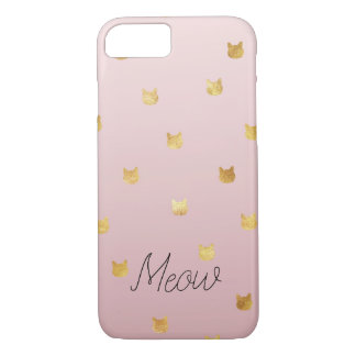 Blush Pink Rose Ombre Gold Cats iPhone 8/7 Case