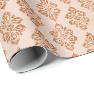 Blush Pink Rose Peach Copper Floral Damask Wrapping Paper
