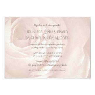 blush pink rose simple elegant wedding invitation